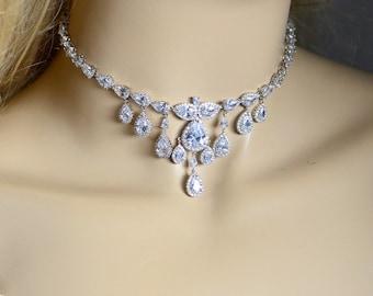 Choker necklace Wedding Jewelry Bridesmaid Gift Bridesmaid Jewelry Bridal Jewelry necklace Cubic Zirconia dangle Necklace,bridesmaid gifts