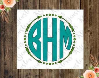 Circle Monogram with Arrow Border Vinyl Decal