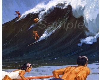 Vintage Hawaii Surfing Travel Poster Print