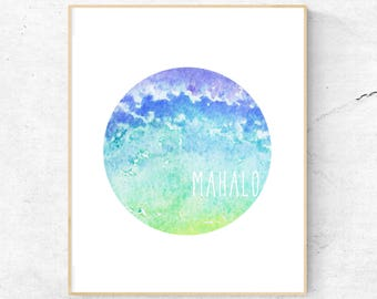 MAHALO WALL ART // Mahalo, Watercolour, Printable, Watercolor, Wall Art, Thank You, Digital Download, Hawaiian Art, Hawaii Print, Grateful