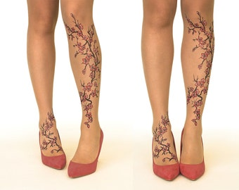 Tattoo Tights/Pantyhose with Cherry Blossoms - FREE SHIPPING