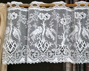 """Antique design cotton lace cafe curtain valance brise-bise panelling per metre 12"""" drop Lovebirds"""