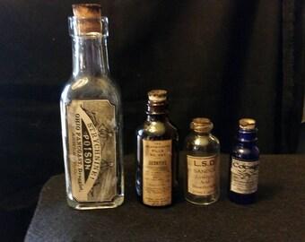 4 Vintage Style Glass Bottles Arsenic,  LSD, Cocaine + Cannabis ...Nice Set...Gift...Neat on Desk or Bookshelf. ..