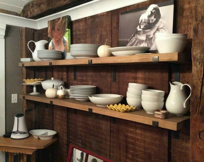 "Modern Industrial Metal Shelf Brackets, Heavy 1.5""x.25"" Handmade in the USA"