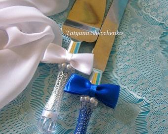 Personalized Wedding Cake Server Set blue and white. Cake Knife. Cake Cutting .Server blue cake knife set of 2