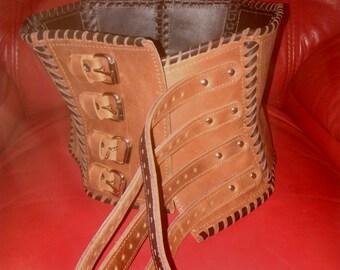 Leather corset, womens corest, leather corselet, foundation garment