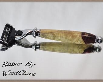 Handmade Red Maple Burl Wood Gillette Mach 3 Fusion Double Edge Safety Shaving Razor 799
