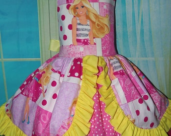 2 pc Patchwork  Barbie Doll Costume,Birthday, Tea Party Fairy tale Dress and Bow  Size 6t/7 Ready to ship(see measurements)