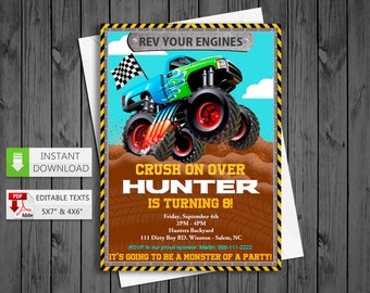 Printable invitation Monster truck in PDF with Editable Texts, Monster Truck party Invitation, edit and print yourself! Instant Download!