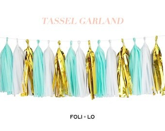 Mint + White + Metallic Gold | Tassel Garland | Metallic Tissue Tassel Garland | FOLI + LO