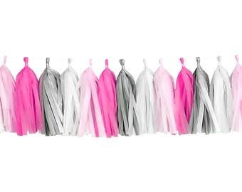 Pink + Hot Pink + Gray + White | Tassel Garland | Tissue Tassel Garland | FOLI + LO