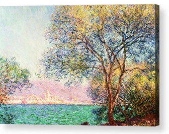 "Claude Monet ""Antibes in the morning"" Canvas Box Art A4, A3, A2, A1 ++"