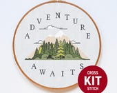 Abenteuer Cross Stitch Kit, Mountain Cross Stitch Kit, Zitat moderne Kreuzstich Kit, gezählten Kreuzstich Anleitung