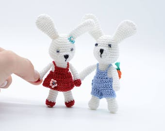 Miniature bunny, crochet bunnies, amigurumi Easter basket, baby bunnies, white rabbits, couple bunnies toy, handmade gifts