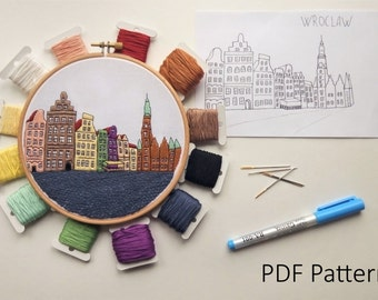 Wroclaw Hand Embroidery pattern PDF. Embroidery Hoop art, Wall Decor, Housewarming Gift. Free Hand embroidery guide!