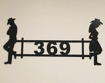 Cowboy Cowgirl Address sign HN33