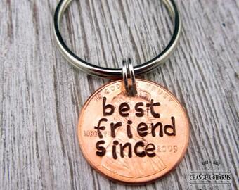 Best Friend Since Penny Keychain, Custom Penny Keychain, Custom Keychain, Best Friend Gift, Best Friend Keychain, Keychain, Gift, Lucky