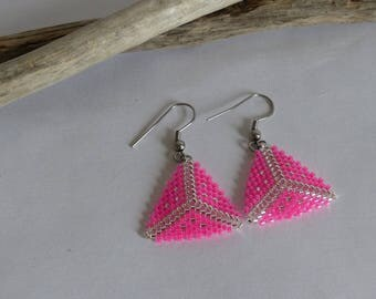 Earrings, jewel woven beads Miyuki, pink glow, gray, Triangle