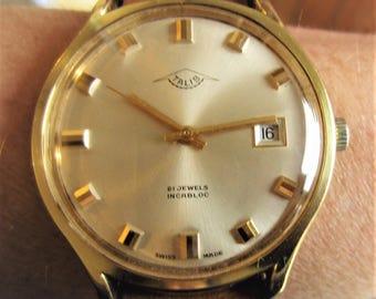 1970s Gents Swiss Talis 21J Mechanical Date Watch ETA 2762 Working