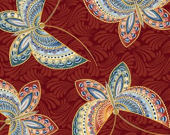 Benartex - Fandango - Butterfly Metallic - Red Backround