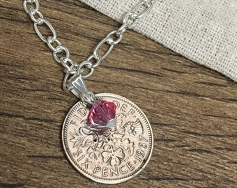 Lucky sixpence october  birthstone pendant  necklace with Swarovski crystal - choice of year