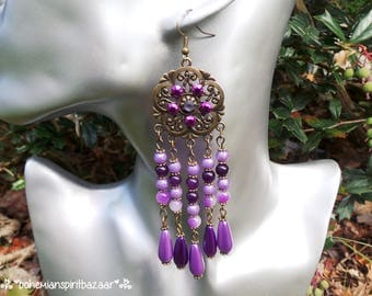 Purple Flower Earrings, Purple Chandelier Earrings, Purple Gypsy Earrings, Purple Boho Earrings, Flower Earrings, Purple Bohemian Earrings