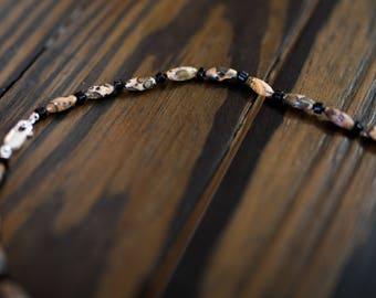 Leopard Skin Jasper & Black Onyx Necklace