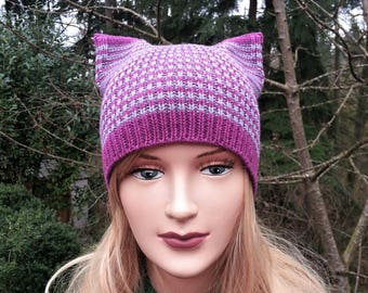 Fuchsia and Gray Striped  Cat hat. Knit Hat Cat Ears. Wool cat beanie. Gift for her.