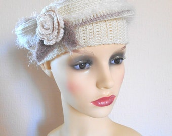 Crochet cream beret, Stylish crochet hat decorated with rose, Autumn & winter beret, Women's accesories, Gift for her
