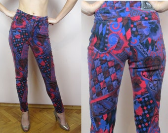 vintage 90's VERSACE JEANS Couture Harlequin floral print high waist jeans S M