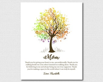 Mom Present 49th Birthday Gift for Her Birthday Custom Mother'S Day Gifts For Mom Tree Watercolor Gifts for Mom Tree Branch Decor Unique Art