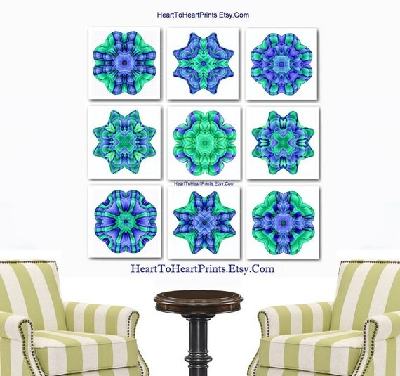 Teal Flower Wall Decor : Items similar to flower wall art teal green decor