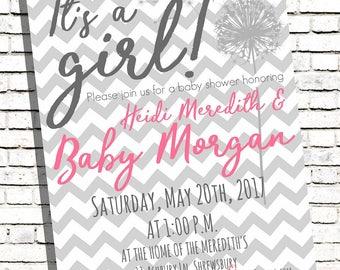 Baby Shower Girl Dandelion Wish Digital Invite Invitation