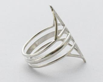 Silver ring--Architectural ring--Minimalist ring--This Way That Way silver ring--Statement ring-Comfortable ring