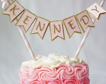Cake banner. Bow cake banner. Girl Cake topper. First birthday cake topper. Pink and gold cake topper. Birthday decorations. Custom name.