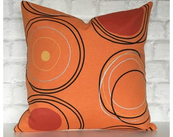 "Retro Orange Circles Cushion Cover 16"" x 16"" Modern Abstract Throw Pillow, Accent Pillow Cover"