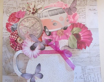 Camper Van Bouquet-decoupage/scrapbook/assemblage