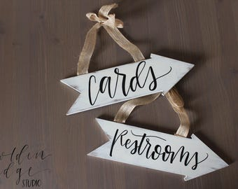 Handwritten 'Cards' & 'Restrooms' Arrows|Wedding Decor