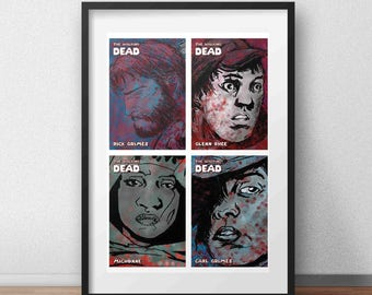 Walking Dead Comic Character Collage Poster