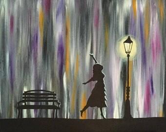 Dance by Streetlight - acrylic on canvas