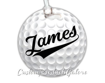 Golf Bag Tag, Round Golf Sports Bag Tag, Luggage Tag, Golf Team Gift, Player Gift, Athlete Gift, Youth Sports Bag Tag, Gym Bag Tag