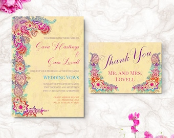 Bohemian Wedding Invitation - Bollywood Wedding Invite - Printable Invitation Suite - Digital File | SARA HI1
