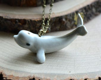 Hand Painted Porcelain Beluga Whale Necklace, Antique Bronze Chain, Vintage Style, Ceramic Animal Pendant & Chain (CA097)