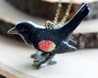 Hand Painted Porcelain Blackbird Bird Necklace, Antique Bronze Chain, Vintage Style, Ceramic Animal Pendant & Chain (CA021)