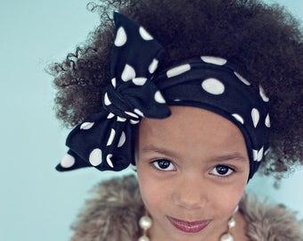 Headwrap, baby girl bows, big bows, polka dots