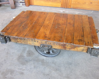 Oversize Factory Cart coffee table Restored from a Wide Vintage Lineberry [W17052]