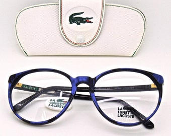 Lacoste 808 Large RIm Blue and Black Marble effect Acrylic Frame Early 90's Glasses