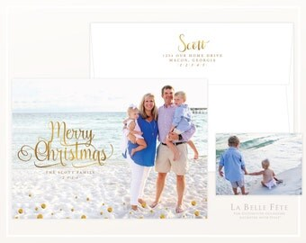 MERRY CHRISTMAS Holiday photo greeting card with gold text / with diy printable option
