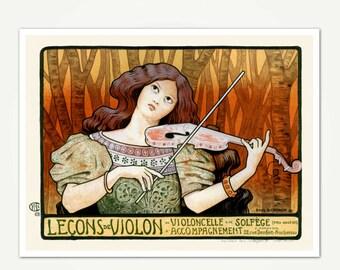 Leçons de Violon - Violin Poster Art Print - Vintage Art Nouveau Poster Print - Paul Berthon Advertising Poster Art