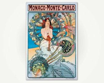 Mucha Poster - Monaco Monte-Carlo Art Nouveau Poster Art - Alfonse Mucha Print